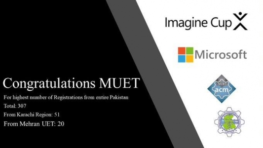 ***ANNOUNCEMENT*** Registrations for Microsoft Imagine Cup have been closed! All the shortlisted ideas have received their emails with all the details! This time, it is a matter of immense pleasure, pride and gratitude for Mehran UET, Jamshoro, that MUET holds the honour for housing the highest number of shortlisted ideas in a single institution in entire Pakistan. Team ACM wishes all the shortlisted participants a very best of luck and encourages all shortlisted teams to contact MUET ACM at muet.acm@unifiedcrest.com in case of any query of any question.